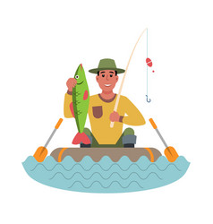 fisherman in a boat with fish in his hands flat vector image