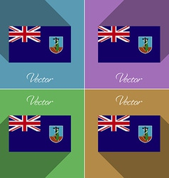 Flags Montserrat Set of colors flat design and vector