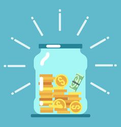 flat money glass jar saving money vector image