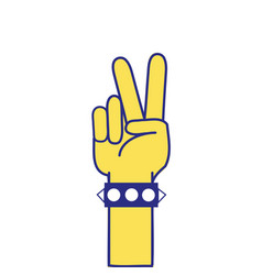 Full color hand with bracelet and peace and love vector