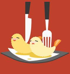 funny cartoon japanese food vector image