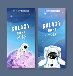 Galaxy flyer design with astronaut planet vector
