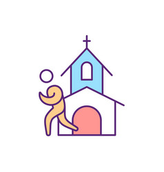 Going to church rgb color icon vector