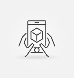 Hands with smart-phone line icon augmented vector