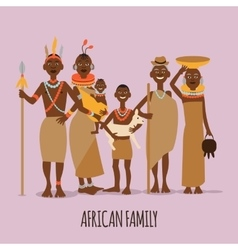 Happy african family mother father children vector