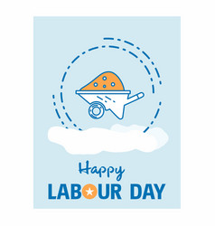 happy labour day design with vintage theme blue vector image