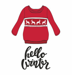 Hello winter with a red pullover for design vector