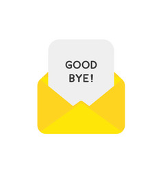 icon concept of mail envelope with good bye paper vector image