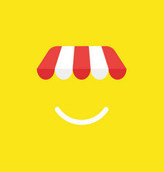 Icon concept of shop store awning with smiling vector