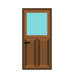 Interior apartment wooden door icon flat style vector image