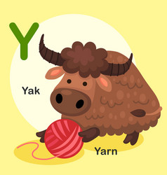 Isolated animal alphabet letter y-yak yarn vector