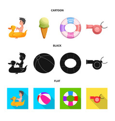 isolated object of pool and swimming symbol set vector image
