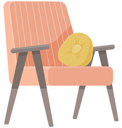 Isolated red soft chair with back at white vector