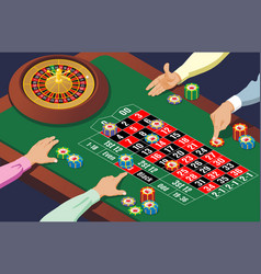 Isometric casino roulette table template vector