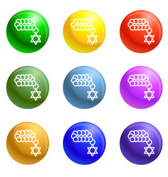 jewish beads icons set vector image