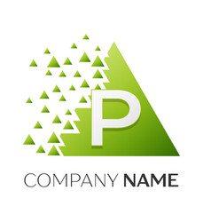 letter p logo symbol in colorful triangle vector image