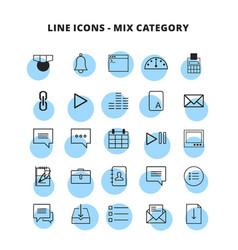 Line mix icons set vector