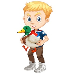 Little boy and a duck vector