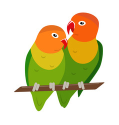 Lovebird parrots icon in flat style vector
