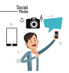 man social media camera bubble speech vector image