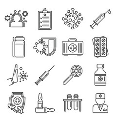 Medical immunization icons set outline style vector