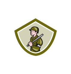 Military Police With Night Stick Baton Shield vector
