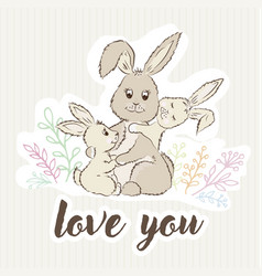 mom rabbit hugs her children and around the grass vector image