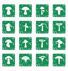 Mushroom icons set grunge vector