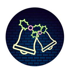 neon bell berries leaves sticker merry christmas vector image