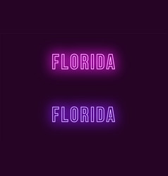 Neon name of florida state in usa text vector