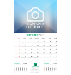 October 2018 wall monthly calendar for 2018 year vector