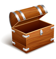 Old empty vintage wooden trunk vector image