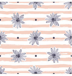 Pastel flower pattern seamless trendy striped vector