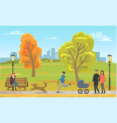 Pet with owner and family in autumn park vector
