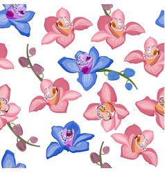 pink and blue orchid floral seamless pattern vector image