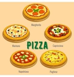 Pizza italian cuisine menu card vector