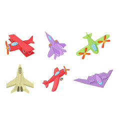 plane icon set cartoon style vector image