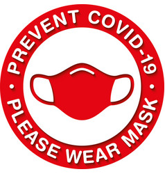Please wear medical mask signage or floor sticker vector