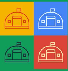 Pop art line military barracks station icon vector