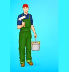 Pop art male character - painter decorator vector