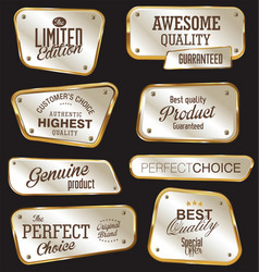 Premium quality glossy golden labels vector