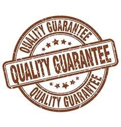 Quality guarantee brown grunge round vintage vector