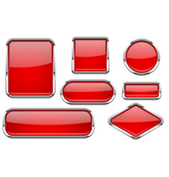 red glass buttons with chrome frame colored set vector image