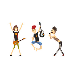rock musicians playing guitar and singing set vector image
