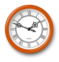 roman numeral wall clock in orange glossy body vector image