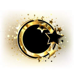 Round Gold Banner with Black Stars vector