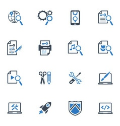 SEO and Internet Marketing Icons Set 1-Blue Series vector image