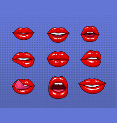 Set of different female red lips fashion patches vector