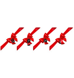 set of red bows with diagonally ribbons and sale vector image