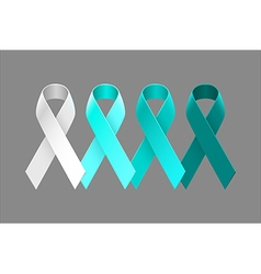 Set of teal ribbons from white to dark teal vector